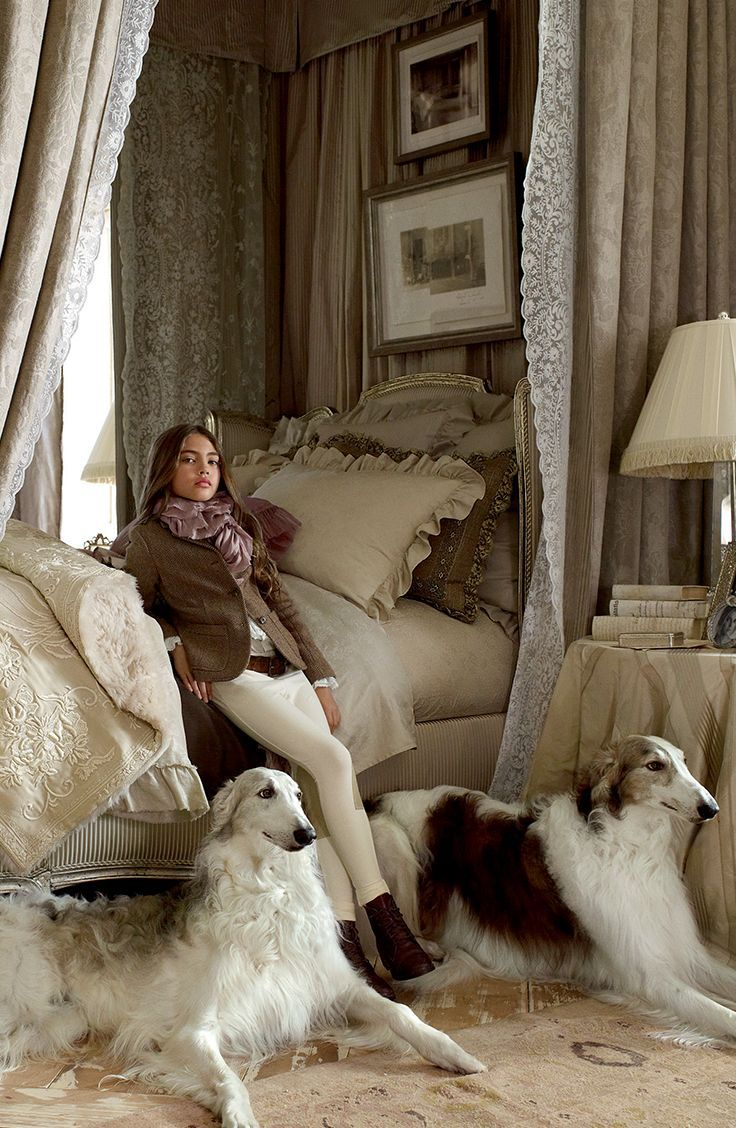 ❤ =^..^= ❤  hilltopperbliss: Found on ralphlaurenhome.com  Two regal outstanding beautiful Borzoi.