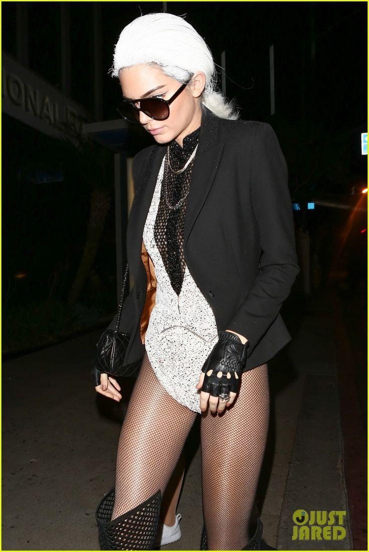 Kendall dressed as Karl Lagerfeld