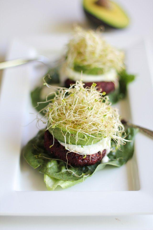 Indian-Spiced Beet Burgers with Lemon-Dill Yogurt Sauce