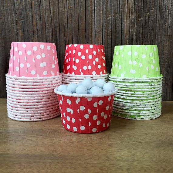 48 Pink, Red and Lime Green Polka Dot Candy Nut Cups- Strawberry Shortcake Party Baby Shower- Birthday Party Supply- Mini Cupcakes