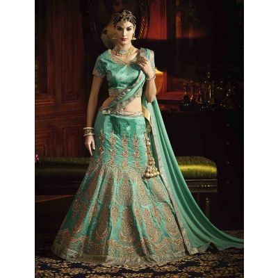 Sea Green Silk Lehenga Choli with Embroidery Work