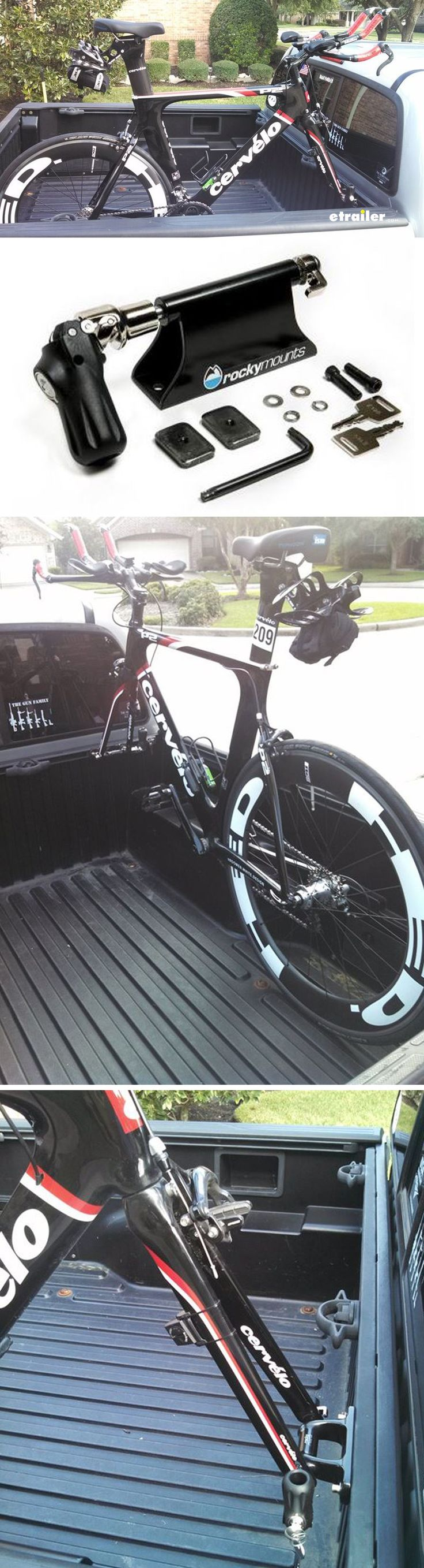 The RockyMounts LoBall bike rack makes it easy to transport a bike in your truck bed. Fits Toyota, Chevrolet, GMC, and Nissan truck's slotted tracks for tie-downs.