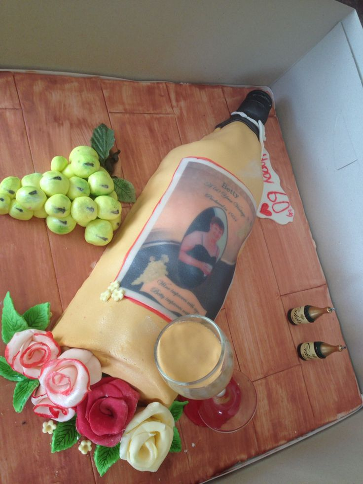 Wine bottle cake for a family friends 60th birthday