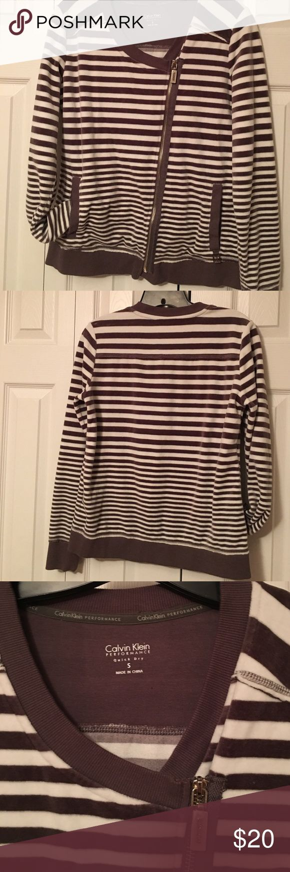 Selling this Calvin Klein Performance Striped Zip Up on Poshmark! My username is: tabatha2086. #shopmycloset #poshmark #fashion #shopping #style #forsale #Calvin Klein Collection #Jackets & Blazers