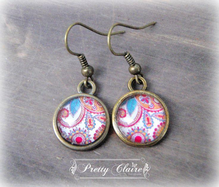 Cabochon handmade earrings, boho earrings, elegant pattern earrings, unique gift, unique jewelry by PrettyClaire on Etsy