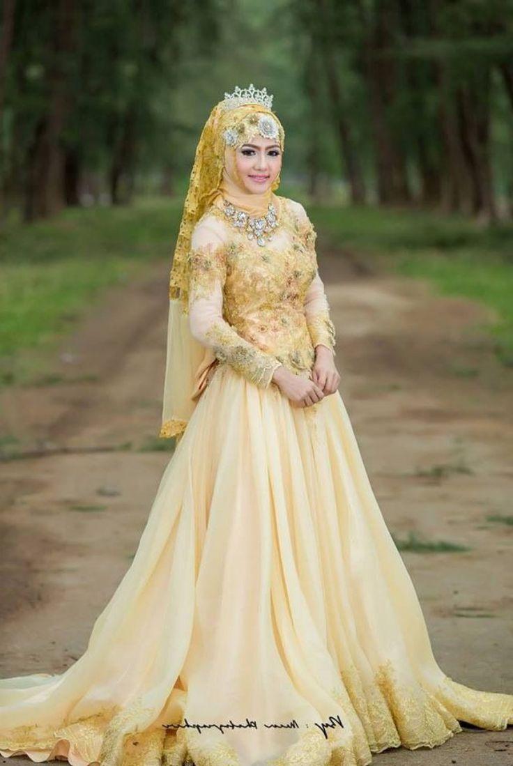 baju pengantin kebaya muslim warna gold