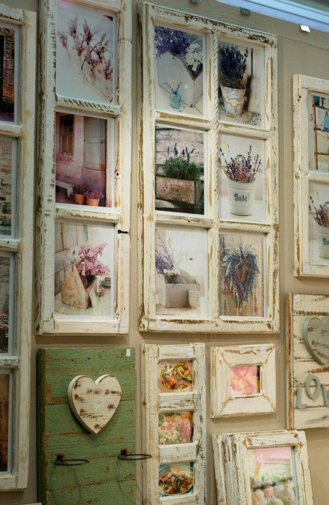 Shabby Chic Bilderrahmen aus alten Sprossenfenstern. Alte Fenster als Bilderrahmen - tolle Wanddeko im Used Look.