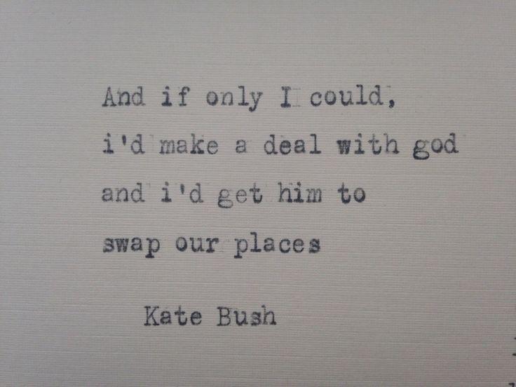 Kate Bush Running up that hill lyrics hand typed on antique typewriter