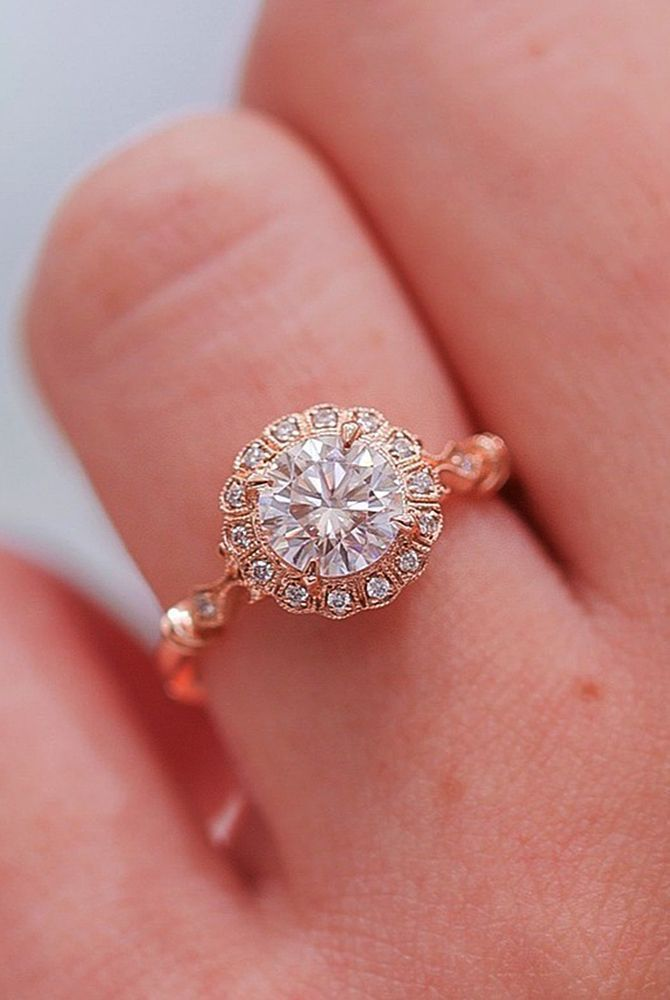 18 Best Vintage Engagement Rings For Romantic Look ❤ Best vintage engagement rings halo round cut rose gold ❤ More on the blog: https://ohsoperfectproposal.com/best-vintage-engagement-rings/ #besthalorings