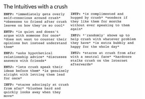 The intuitive types with a crush, MBTI, ENFP, ENTP, ENFJ, ENTJ, INFP, INTP, INFJ, INTJ