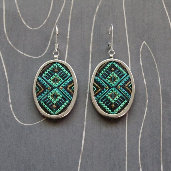 Deco Diamond Cross Stitch Earrings Oval by TheWerkShoppe on Etsy, $63.00