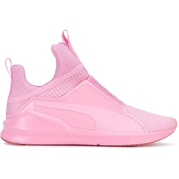 Puma Fierce trainers ($98) ❤ liked on Polyvore featuring shoes, sneakers, pink, puma trainers, puma footwear, pink sneakers, puma shoes and pink shoes