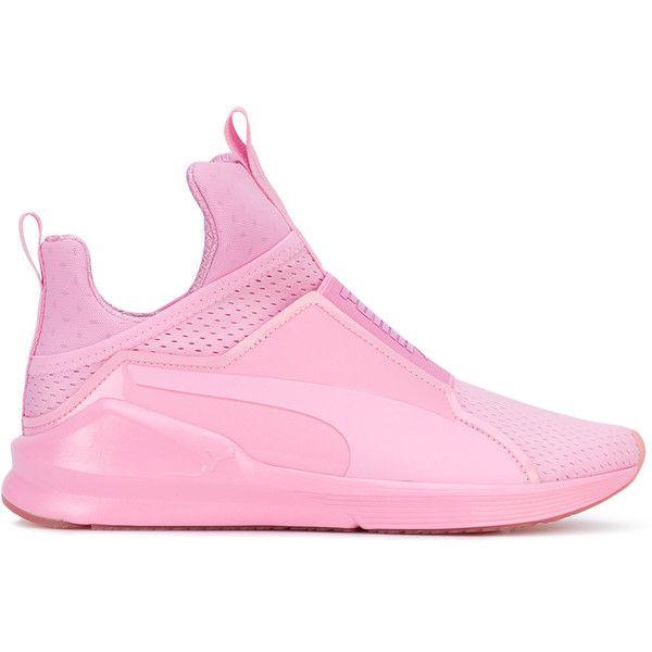 Puma Fierce trainers (£77) ❤ liked on Polyvore featuring shoes, sneakers, pink, puma trainers, pink sneakers, puma sneakers, pink shoes and puma footwear