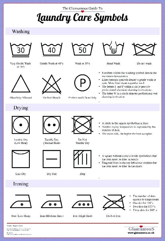 A Guide to Laundry Symbols (Printable Cheat Sheet) | Glamumous!