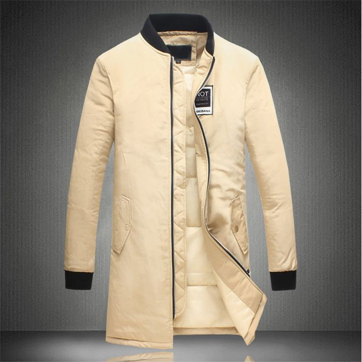 Men Winter Long Coats Snow Warm Stand Collar Casual Down Parkas Brand Slim Fit Fashion Cotton Trench Coats F1786