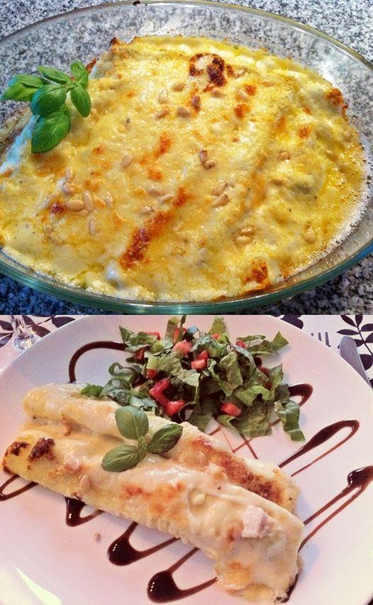 cannelloni med kyckling, kantareller, ricotta och pesto