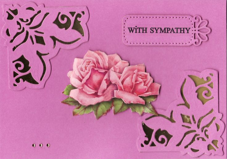 3D roses 'With Sympathy' Card (by Tassie Scrapangel)