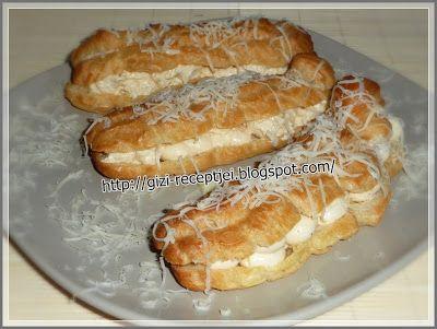 Gizi-receptjei. Várok mindenkit.: Éclair (Ekler fánk) sajtoskrémmel töltve.