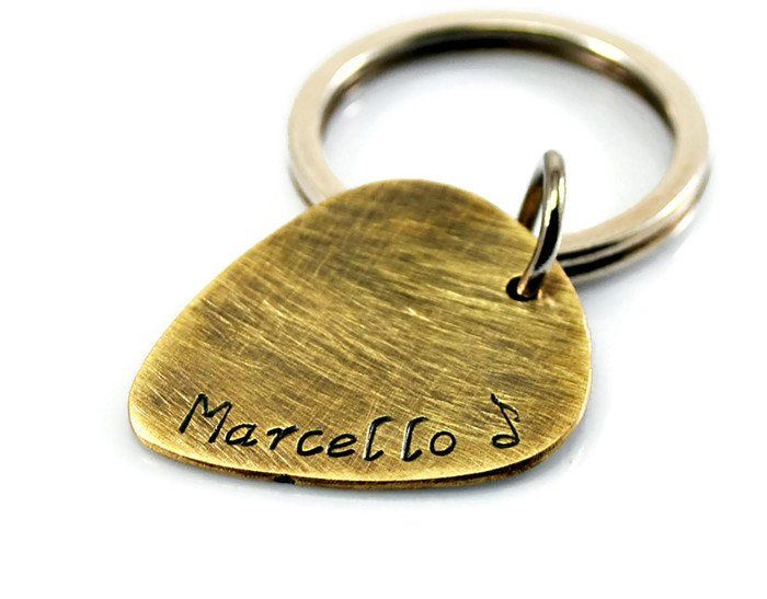 Custom Personalized Antique Brass Guitar Pick KeyChain.