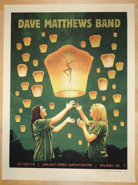 2014 Dave Matthews Band - Raleigh Silkscreen Concert Poster by Methane
