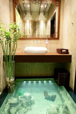 aquariums in the floor...do i put it on the baths board or the water board...i just don't know! Put it EVERYWHERE!!