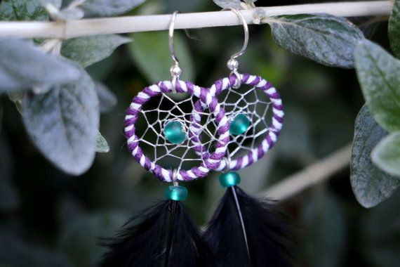 Purple White & Black Dream Catcher Earrings by nZuriArtDesigns