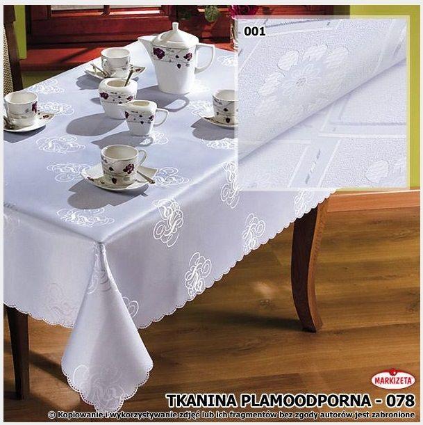 #Obrus_plamoodporny 130 x 160 cm kolor biel Nowoczesny obrus plamoodporny z eleganckim wzorem. Obrus wykonany z wysokiej jakości materiału co zapewnia jego długą żywotność. Plamoodporna tkanina sprawia, że unikniemy plan i zabrudzeń.  Obrus doskonale sprawdzi się jako dekoracja stołu w kuchni, jadalni, a także w restauracji.  kasandra.com.pl