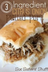 Six Sisters 3 Ingredient Citrus Onion Pulled Pork is so easy! Just throw it all in the slow cooker! #sixsistersstuff