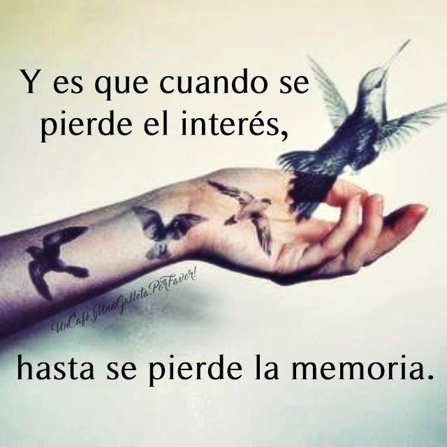 〽️ Y es que cuando se pierde el interés, hasta se pierde la memoria