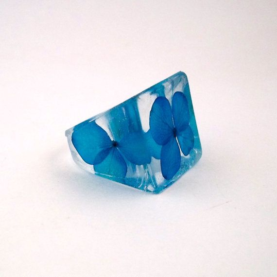 Blue Resin Ring Hydrangea Resin Ring  by SpottedDogAsheville, $34.00
