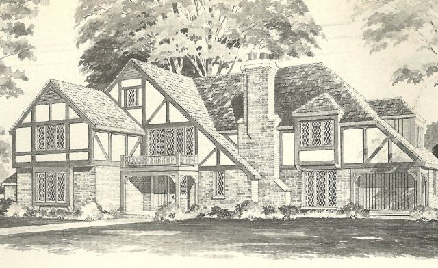 Vintage house plans 1970s homes tudor style vintage for Historic tudor house plans
