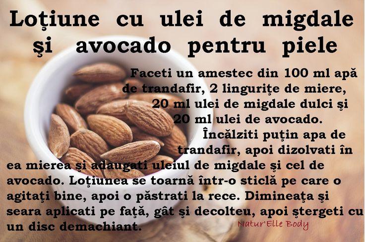 Loţiune cu ulei de migdale şi avocado pentru piele