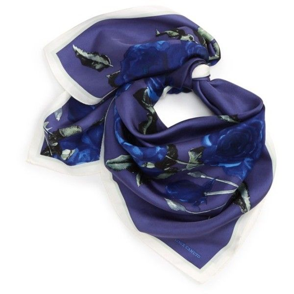 Women's Vince Camuto Sepia Rose Square Silk Scarf (3.435 RUB) ❤ liked on Polyvore featuring accessories, scarves, navy, navy scarves, square silk scarves, silk shawl, silk scarves and navy blue shawl