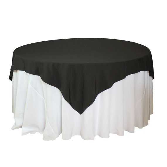 72 x 72 inch Black Table Overlays for 5 Ft Round Tables, Square Black Tablecloths | Wholesale Black Table Linens, Matte Table Cloths