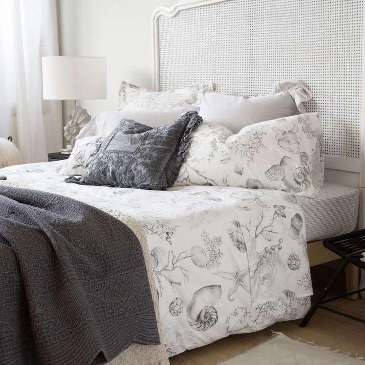 zara home catalogo primavera estate 2016 biancheria da letto stampa fondo marino zara home. Black Bedroom Furniture Sets. Home Design Ideas