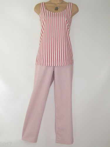 LAURA-ASHLEY-VINTAGE-SCARLET-STRIPE-TANK-TOP-amp-STRIPE-CROPPED-SUMMER-TROUSER-8
