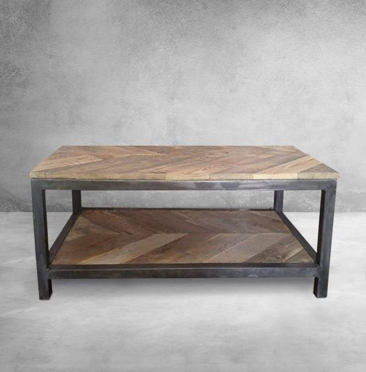 Reclaimed Wood and Metal Coffee Table Two Tier, Chevron Pattern
