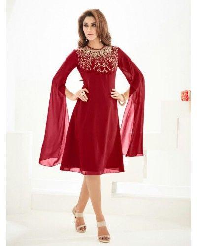 Maroon Georgette Dress