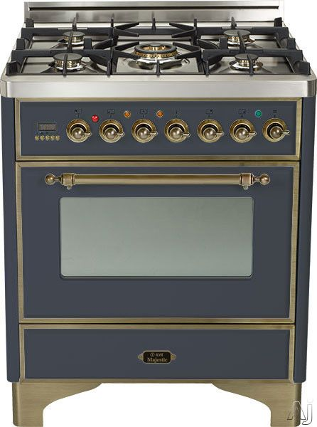 """Ilve UM76DVGGMY 30"""" Traditional-Style Gas Range with 5 Open Burners, Dual Triple Flame Burner, European Convection Oven, Manual Clean, Warming Drawer and Oil Rubbed Bronze Trim: Matte Graphite"""