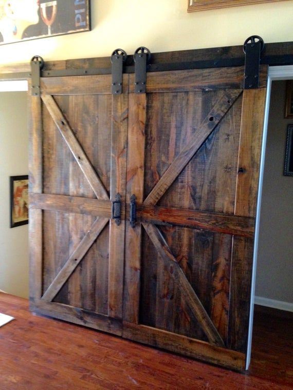 These Beautiful Double Barn Doors Are Made From Southern Yellow Pine And Stained In M In 2020 Barn Doors Sliding Diy Barn Door Hardware