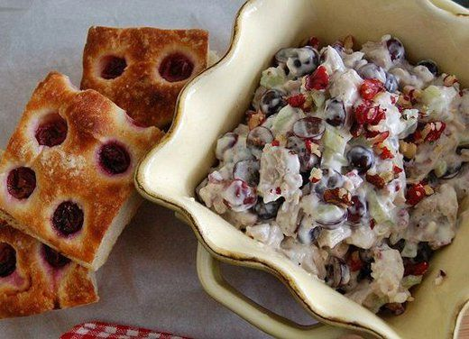 Red walnuts and red grape chicken salad on grape focaccia.: Grape Chicken, Waldorf Salad, Chicken Salad, Red Walnut, Red Grape, Healthy Recipe, Healthy Chicken, Greek Yogurt, Grape Focaccia