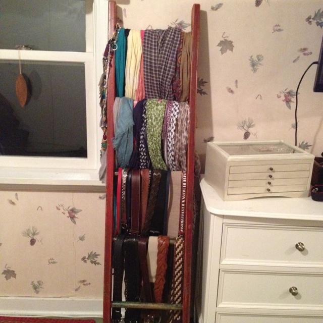 old ladder for scarf storage