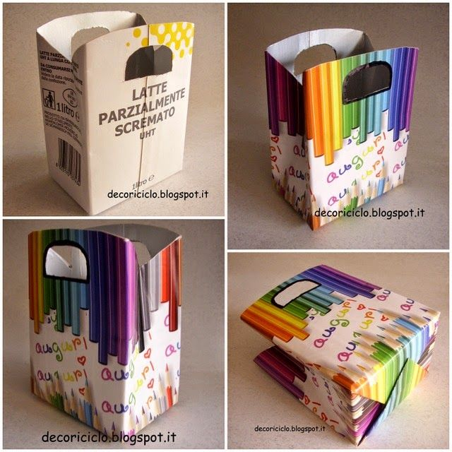 decoriciclo: riciclo tetrapack: da cartone del latte a sacchetto porta-regalo
