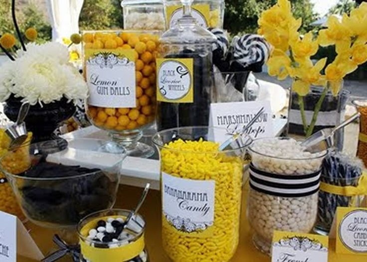 Yellow Black And Damask Wedding Table Setting 2 Ideas Baby ShowersThemed