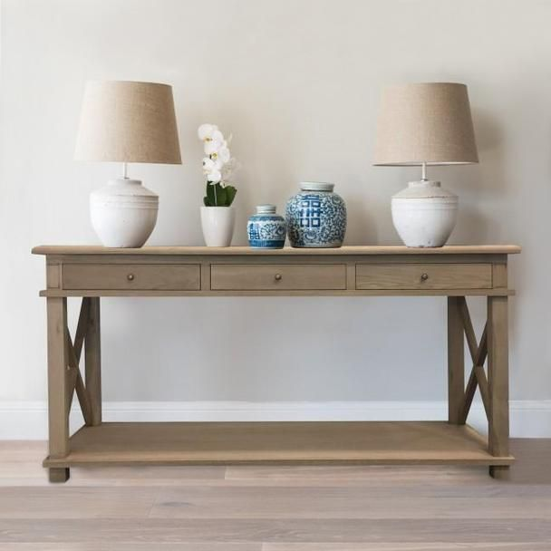 Oak Console Table 3 Drawers Hamptons Decor Furniture Decor
