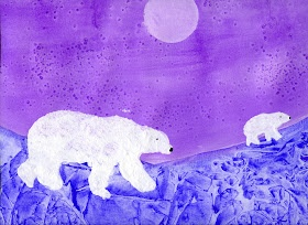1st grade Polar Bears using 4 different techniques: blotting, salt, Saran Wrap, stencil