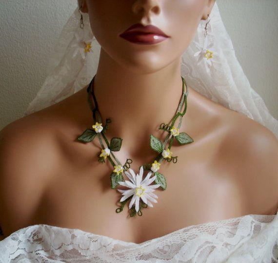 wedding needle lace jewelery hand made Bridal by AnatolianWedding, $75.00