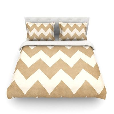 KESS InHouse Biscotti and Cream Light by Catherine McDonald Chevron Featherweight Duvet Cover Size:
