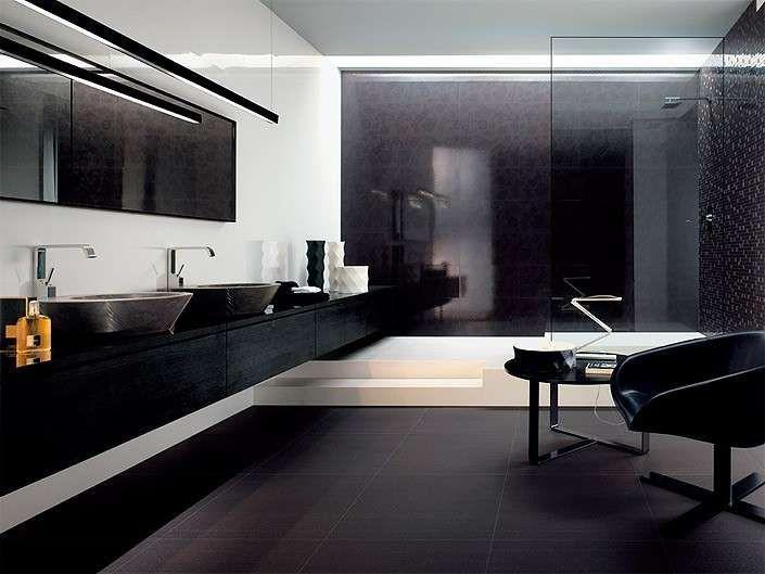 Abbinare pareti e pavimento - Piastrelle nere e pareti bianche