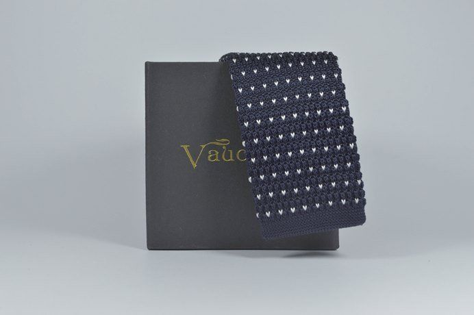 Vaucluse Brand - Knitted Tie Blue/White Pattern
